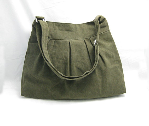 Olive messenger bag / hand bag / shoulder bag / diaper bag / cross body bag / canvas purse / adjustable strap zipper pocket