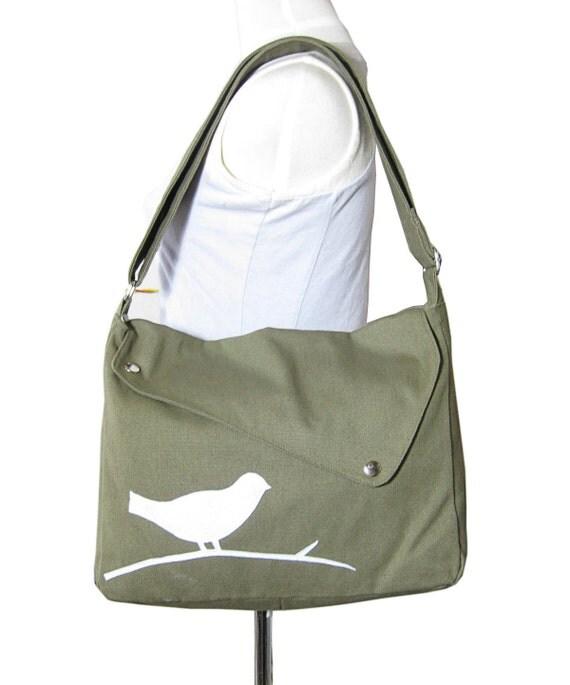 Olive green cotton canvas  shoulder bag / bird messenger /messenger bag / diaper bag / cross body bag