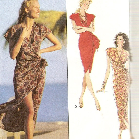 Sarong Style Wrap Dress Sewing Pattern, Size 8, 10, 12, Style 1745 Bust 31 32 33 34