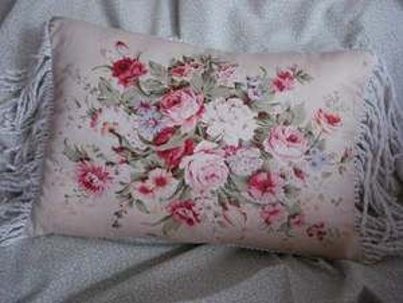 Reserved for nostalgictraditions FLORAL ROSE PILLOW cover Vintage floral pinks and greens