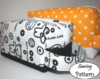 Cosmetic Toiletry Pouch Box Bag Tutorial ( sewing pattern PDF Ebook ) No.2