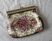 SALE 35% OFF//vintage petite point evening embroidered flower me up clutch
