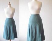 SALE 35% OFF//vintage 1950s// teal turquiose pleated skirt