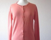SALE 35% OFF//vintage 1950s orange pink peach buttoned down cardigan sweater
