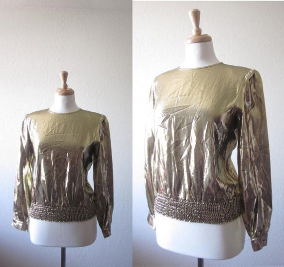 vintage 1970s gold metallic shirt