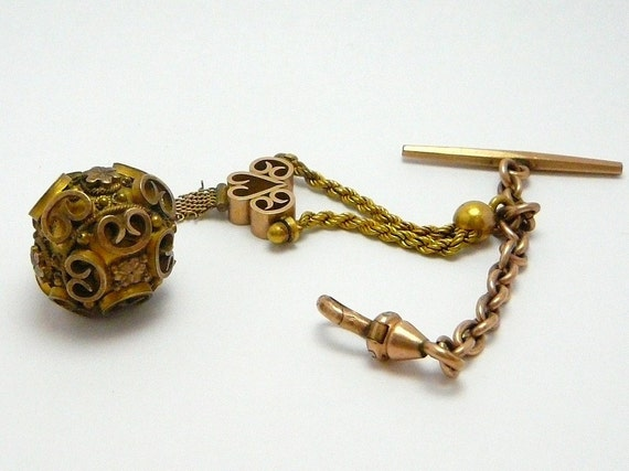Vintage Victorian Gold Filled Pocket watch Chain with Etruscan Ball Fob
