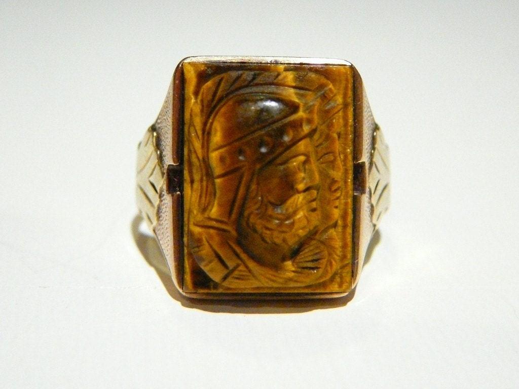 Sale 15 Percent Off Roman Soldier Intaglio Ring Mens Double