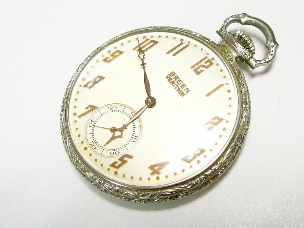 rare vintage gruen verithin veri thin pocket watch. Black Bedroom Furniture Sets. Home Design Ideas