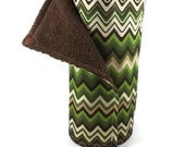 Reusable Cloth Towel Roll - Reusable Paper Towel Roll - Brown and Green Zig Zag