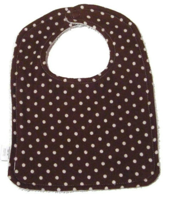 Custom Order for Virginia - Bib With Snap - Brown Dots