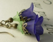 20% off - Layered Lucite Flower Earrings - Petunia in Dark Blue