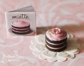 Dollhouse miniature dessert - Lovely chocolate cake Book included :)