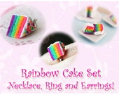 Rainbow Cake Necklace, Ring and Earrings Set - Super Cute :)
