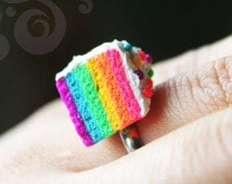 "Rainbow Cake Ring - As seen in the Korean Soap Opera ""Panda and Hedgehog"""
