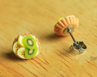 Fruit tart - Stud earrings  (hypoallergenic surgical steel)