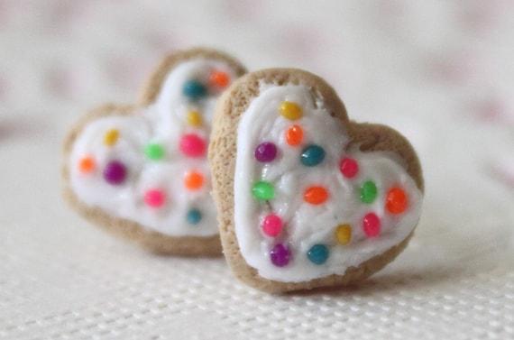 Miniature food jewelry - Rainbow Sugar Cookie Stud Earrings - As seen in Make Jewellery Magazine