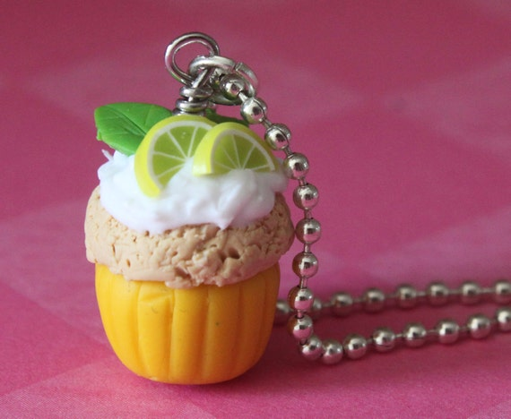 """Mojito Cupcake Necklace - Hand Sculpted with Polymer Clay (18"""" silver plated ballchain)"""