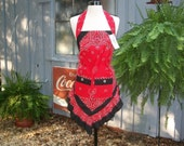 ReDesigned Upcycled Red Bandana Print with Black Trim Full Apron