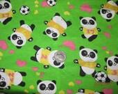 Panda Bears Love Soccer Cotton Jersey knit fabric