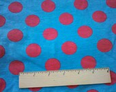 Red Euro French Dot on Turquoise Blue cotton Lycra Knit Fabric