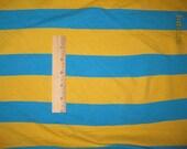 Aqua & Yellow Wide STripe Cotton LYcra Knit FAbric