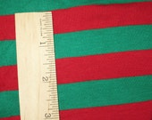 "Christmas Red & Green apx. 7/8"" Cotton Lycra STripe Knit Fabric"