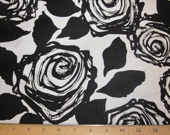 Gorgeous Dramatic Black & White Roses cotton Sateen