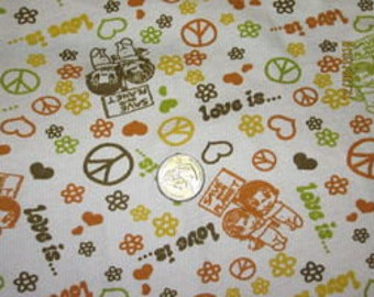 Boutique Hippie Groovy Peace Love Organic Rib KNit fabric