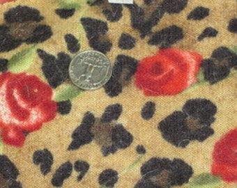 Cheetah Print with Roses Bigger Scale Wool Jersey KNit fabric
