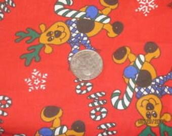 Ho Ho Ho Christmas Reindeer on Red Cotton Woven
