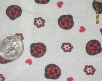 Cute Ladybugs on Thermal Knit. fabric
