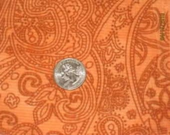 Gorgeous Orange Paisley Rib Cotton Velour