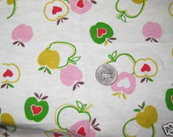 Pink Green Apple Hearts on Off White French Terry knit fabric