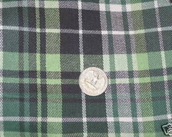 100% cotton flannel Green & Black Plaid