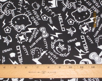 Cute Hello Kitty Black  Punk Graffiti Cotton Knit FAbric
