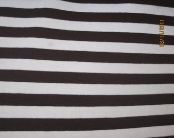 "Dark Chocolate Brown & White 3/8"" Cotton Lycra STripe Knit Fabric"