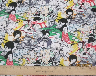 Anime Kawaii Matamoro in Japan in yellow accent  Woven Cotton