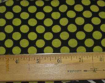 Chartreuse Yellow Polka dot on Black Sweater Knit Fabric