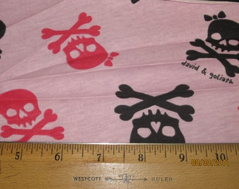 DG Cute Pink & Black Skulls and Crossbones Knit Fabric