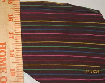 Chocolate Brown Rainbow Stripes Knit Fabric