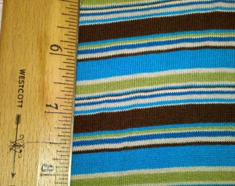 Retro Turquoise, Chartreuse Green and Brown Stripe Knit Fabric