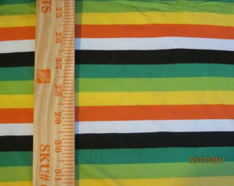 "Retro Green orange, yellow 1/2"" Poly lycra Stripe Knit,Seconds some dirt,last piece."