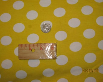 White Euro French Dot on Yellow cotton Lycra Knit Fabric
