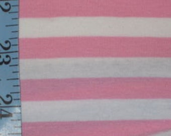 "3/8"" bubblegum pink & White Cotton Lycra Stripe Knit. Cotton lycra"