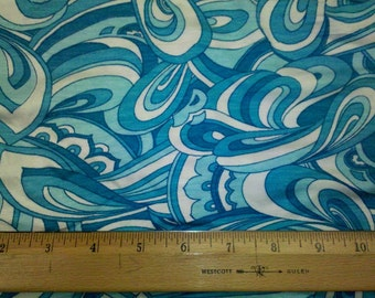 Gorgeous Turquoise Blue  Paisley on Rayon Spandex Knit Fabric