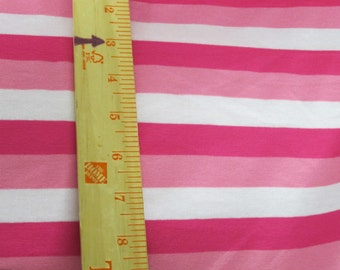 Hot PInk, Pink and White STripe Knit FAbric