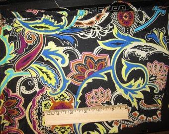 Beautiful Black Blue Yellow Jacobean Paisley Knit Fabric