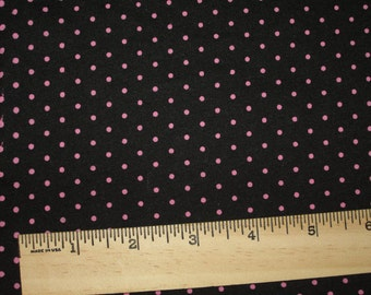 Small hot Pink Pin Polka Dots on Black Knit Fabric