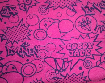 Cute Bubble Gum Blowing MOnkey Bobby Jack on  Hot Pink Knit Fabric