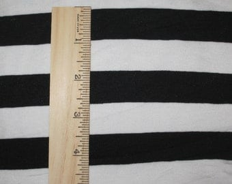 "Apx 7/8"" Black and White Cotton Lycra STripe Knit Fabric"